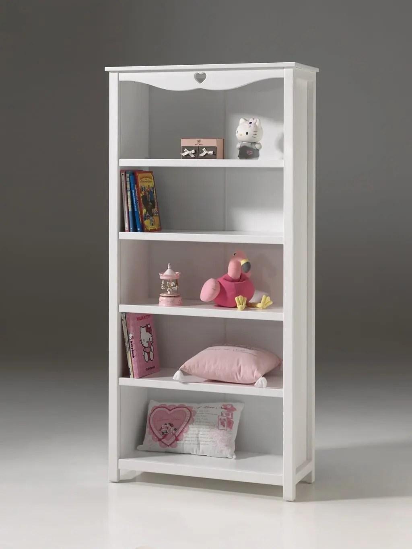 bibliotheque lovely blanc laque pour chambre enfant 4 tablettes