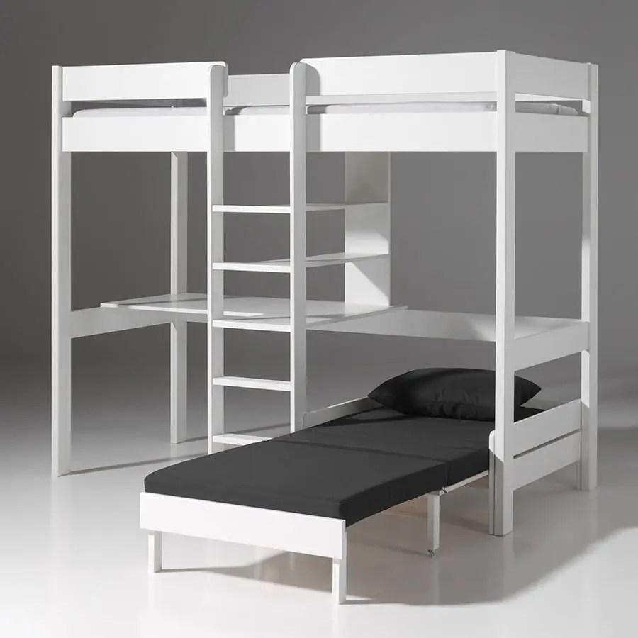 lit mezzanine pour enfant avec fauteuil lit et bureau coloris blanc