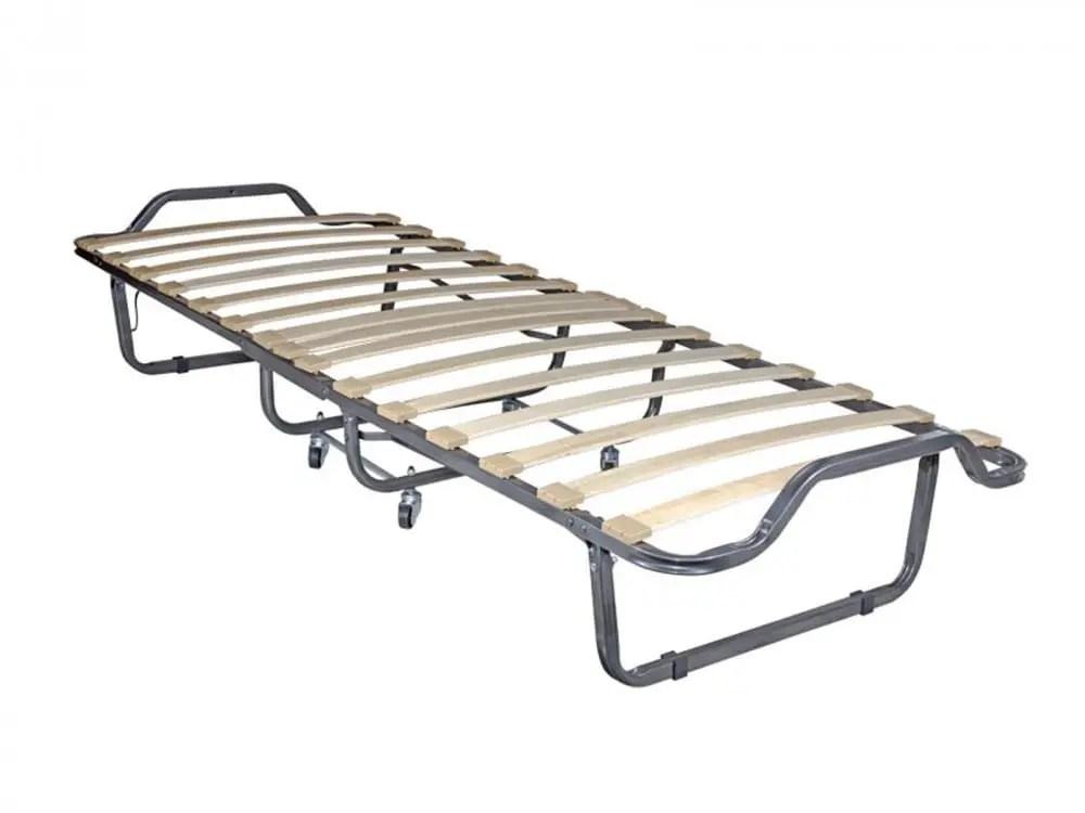 lit pliable en metal gris 80x190 cm avec roues et matelas inclus