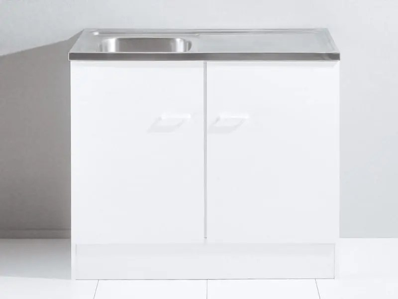 meuble bas de cuisine a 2 portes avec evier coloris blanc