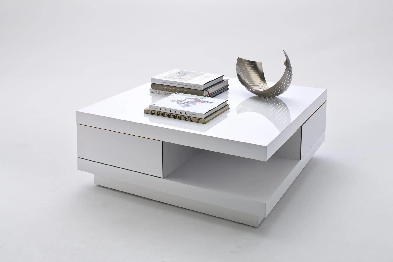 table basse blanc laque design avec 2 tiroirs