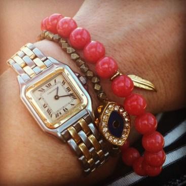 Gage Huntley red coral evil eye bracelet