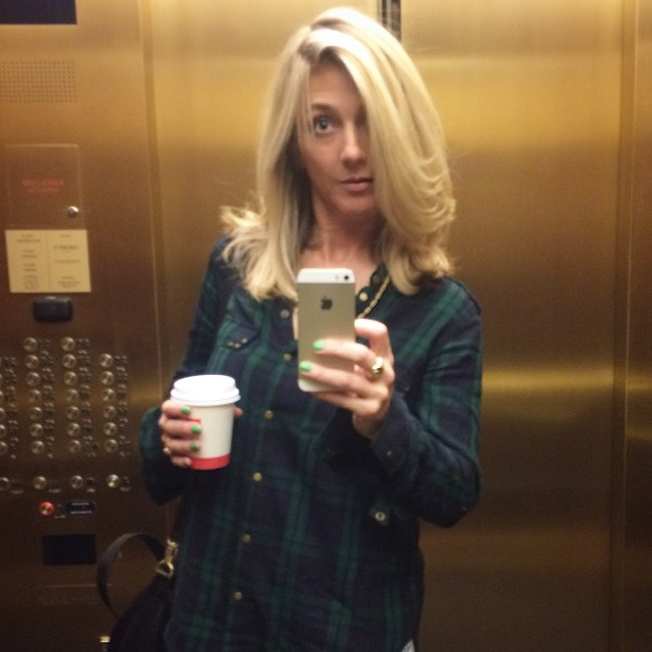 My morning elevator selfie plus bonus coffee