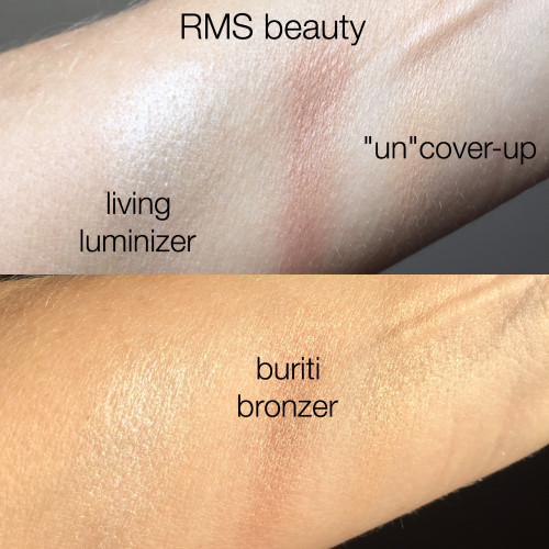 "RMS Beauty ""un"" cover-up, living luminizer, buriti bronzer swatches dalybeauty"