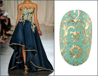 Marchesa dress revlong nail applique
