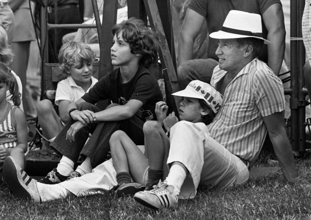 Prime Minister Pierre Trudeau  took  his sons to watch the official opening Canada Day ceremonies on Parliament Hill July 1, 1983 in Ottawa. Trudeau was an onlooker for the show, wearing a Panama hat and sneakers along with his three sons Alexandre (Sacha) , Justin and Michel.
