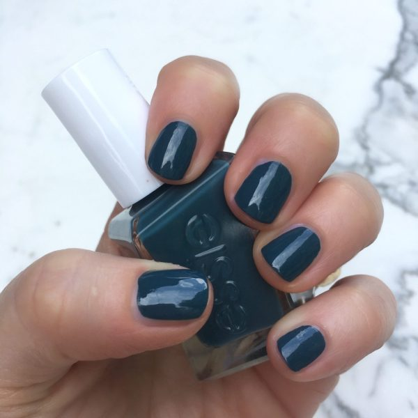 """Essie Gel Couture """"off duty style"""" is a rich yet somewhat dusty teal. LOVE. The sun was hiding when I took this pic."""