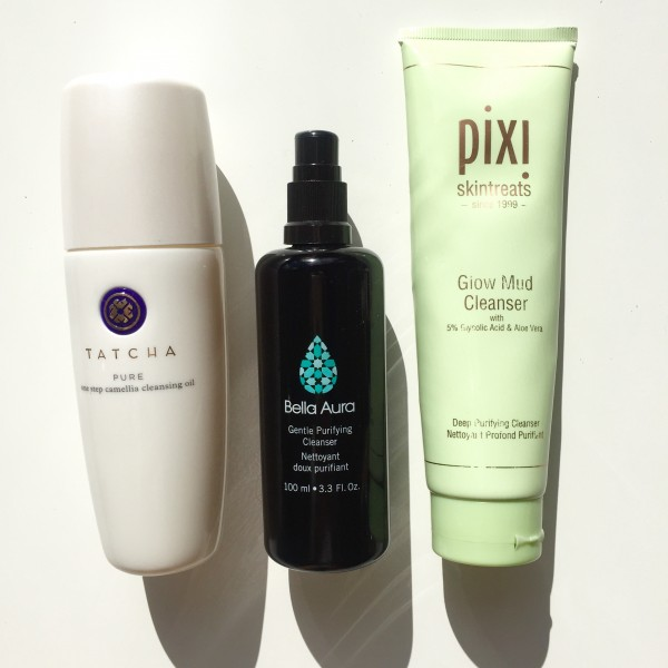 From left: Tatcha Camellia Cleansing Oil, Bella Aura Purifying Cleanser, Pixi Glow Mud Cleanser