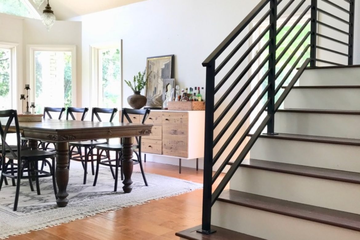 Our Finished Staircase With Horizontal Stair Railing Daly Digs | Wood And Metal Handrail | Farmhouse | Contemporary | Indoor | Industrial | Modern