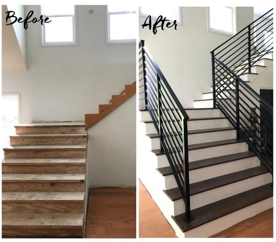 Our Finished Staircase With Horizontal Stair Railing Daly Digs | Modern Horizontal Stair Railing | Really Thin | Interior | Cast Iron | Cable | Elegant
