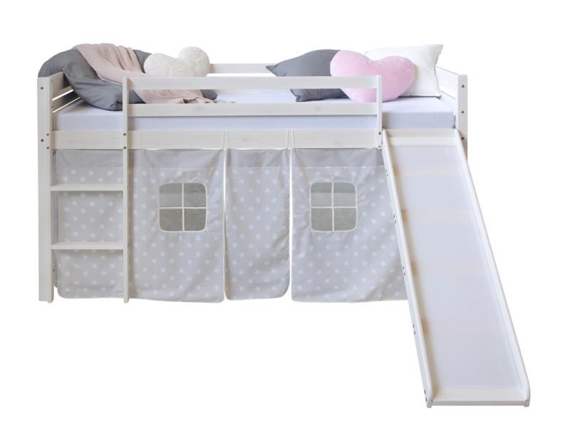 lit superpose mezzanine avec glissoire echelle et rideau en pin 207 x 150 x 97 cm pegane