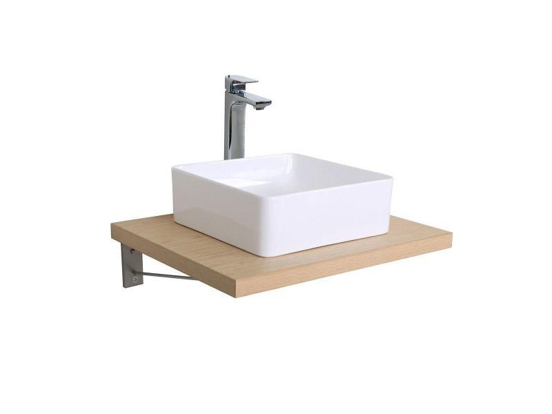 Plan De Toilette Suspendu Pour Vasque Will 60 Cm Ep 3 8 Cm Decor Chene Effet Beton Vente De Mob In Conforama