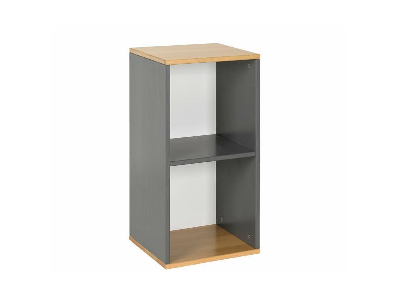 meuble de rangement peio 2 cases gris anthracite et bois