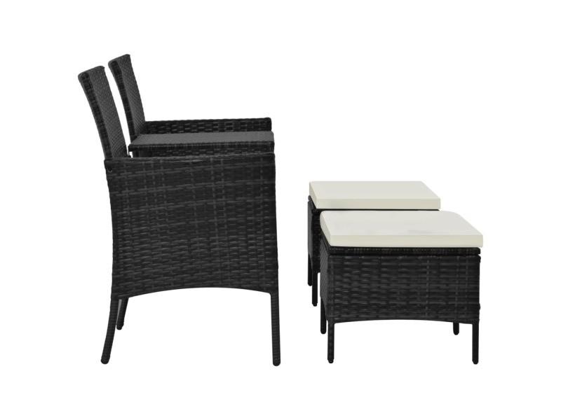 icaverne ensembles de meubles d exterieur ligne ensemble de banc de jardin 7 pcs resine tressee noir et blanc