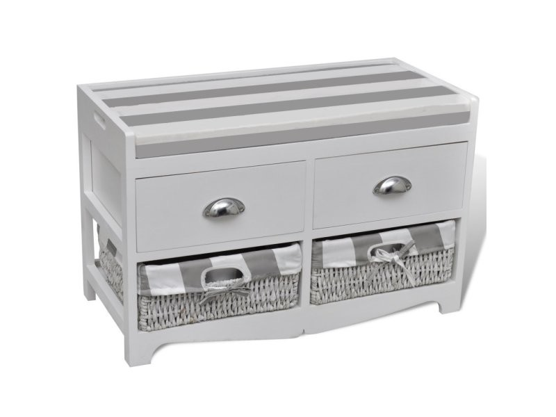 banc de rangement avec 2 tiroirs et 2