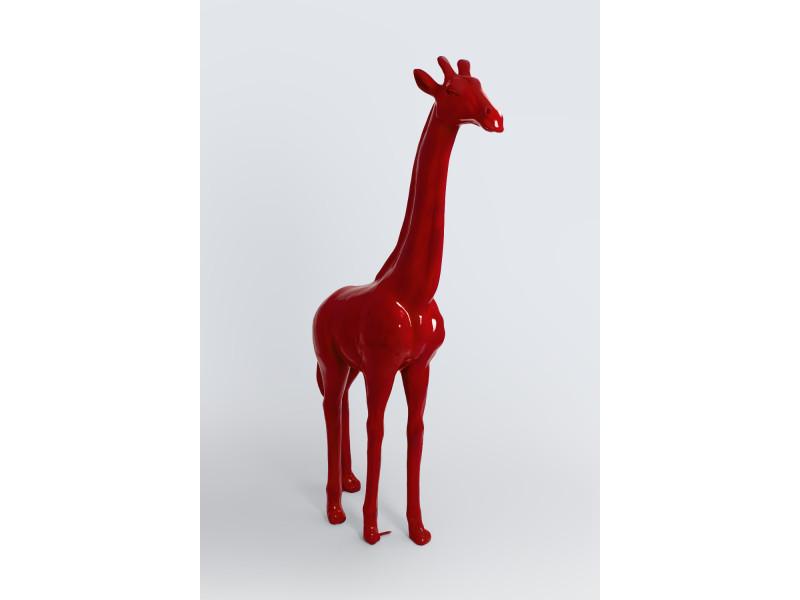 johannesburg 210cm xl statue en resine girafe sculpture animal deco maison decoration jardin coloris rouge