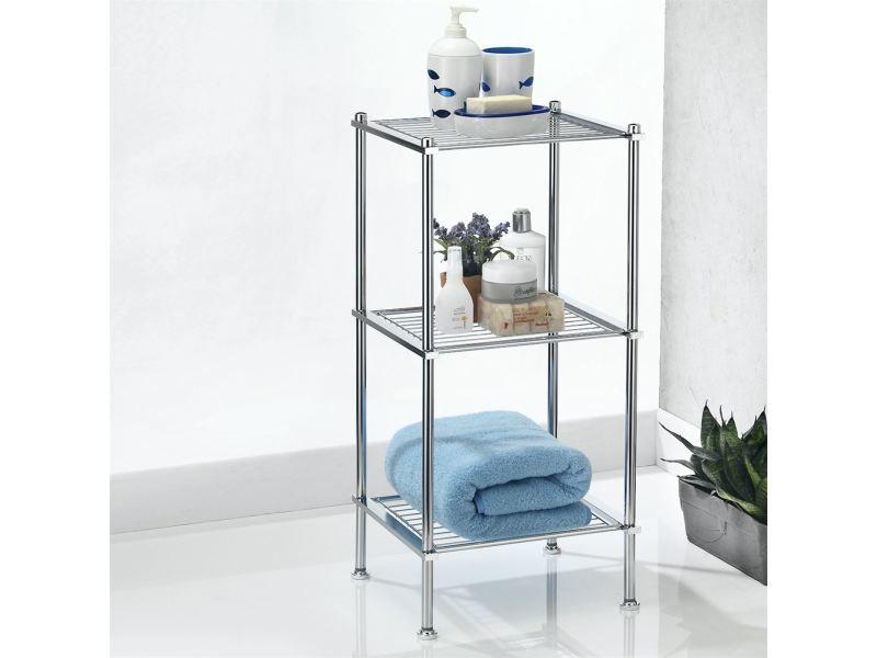 etagere de salle de bains tunis sur pied avec 3 tablettes en metal chrome