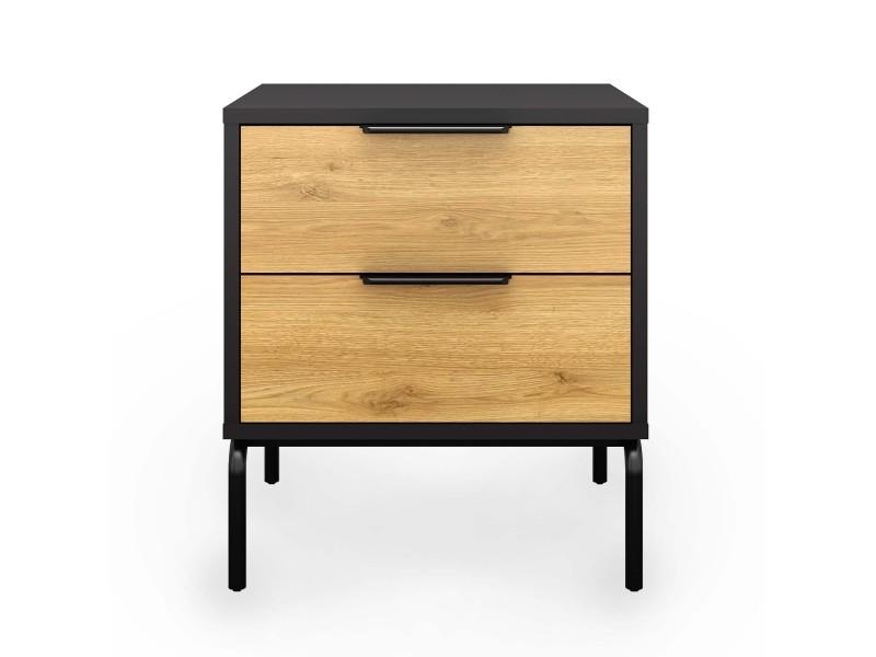 table de chevet 2 tiroirs en bois et metal noir tamara