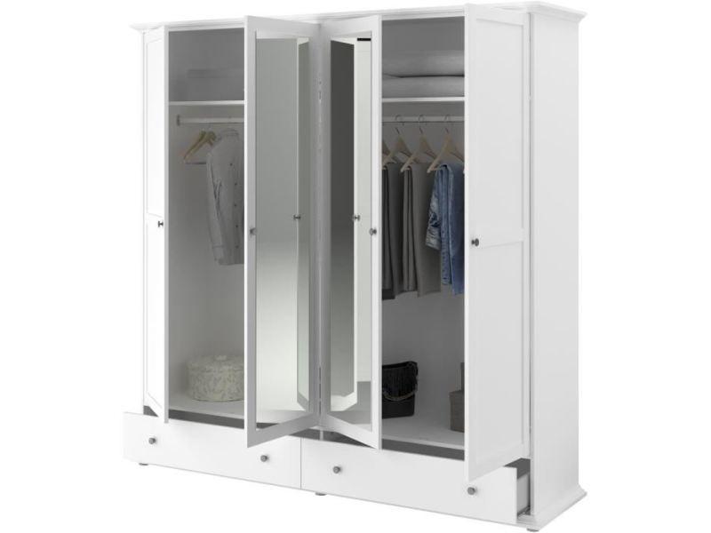 Armoire De Chambre Manon Armoire 4 Portes Blanc L 199 X P 53 X H 202 Cm Vente De Sans Marque Conforama