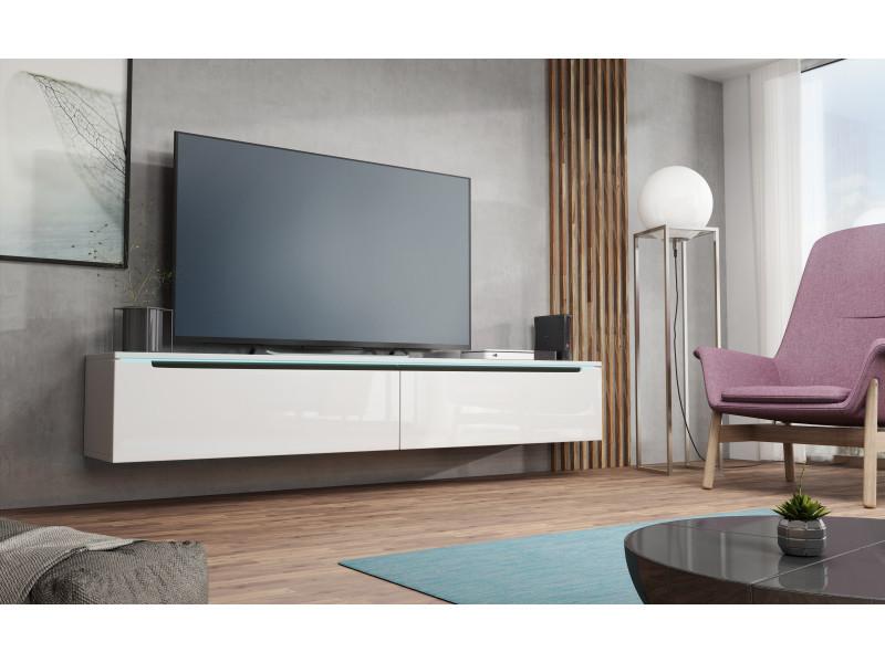 furnix meuble tv flottant banc tv kano 180 cm blanc avec led