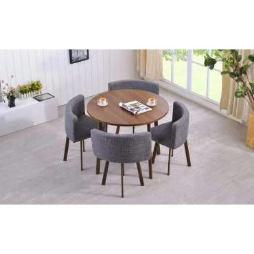 table ronde et chaises riga chene fonce