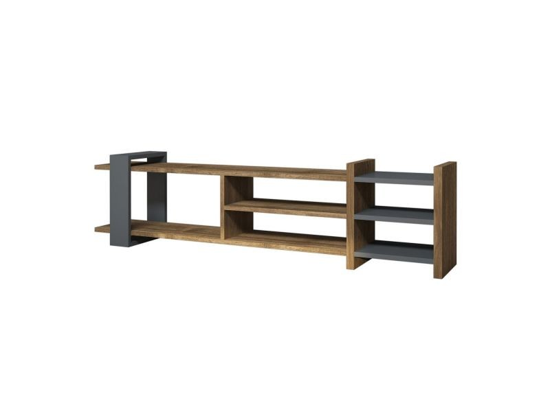 meuble tv design zeyna l 156 x h 40 cm gris anthracite