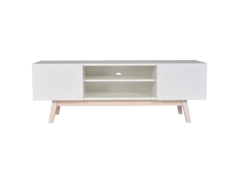 meuble tv blanc bois massif