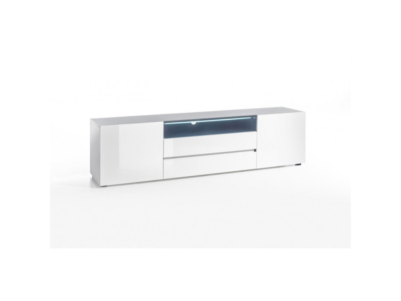 meuble tv moderne laque blanc hortense