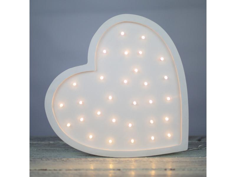 lulumi lampe chambre enfant en forme de cœur blanc