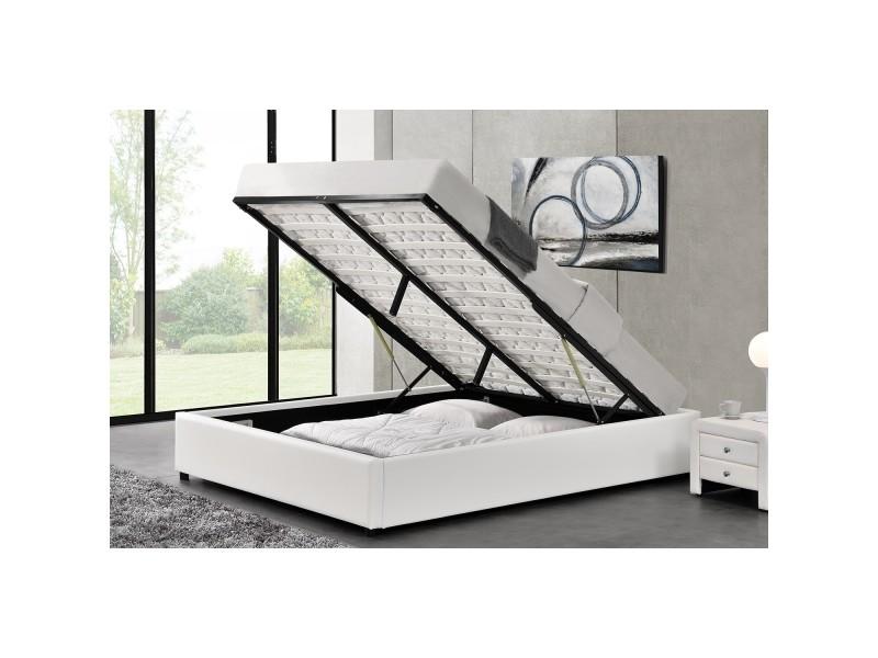 lit kennington structure de lit blanc avec coffre de rangement integre 140x190 cm