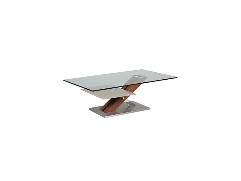 table basse rectangulaire socle en acier et 2 plateaux en verre trempe