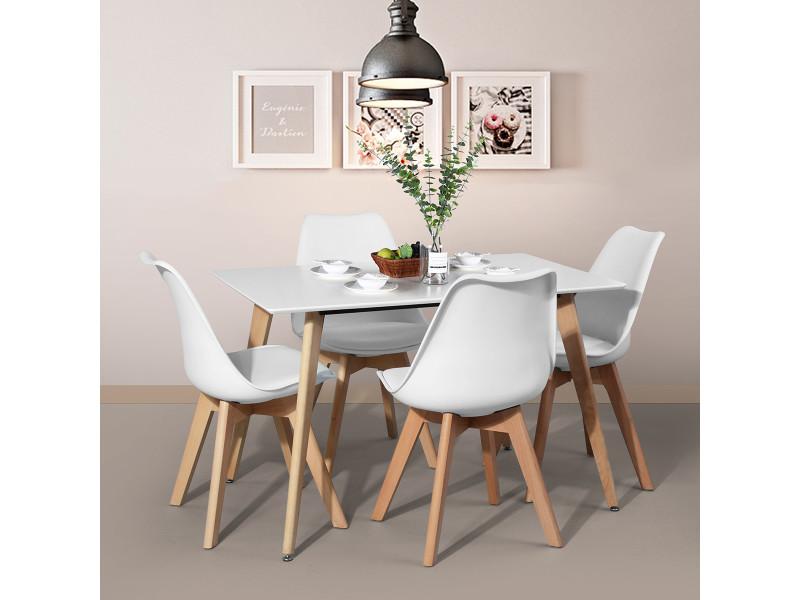 ensemble table a manger rectangulaire et 4 chaises scandinave table blanche mdf 4 chaises scandinave salle a manger plastique bois blanc