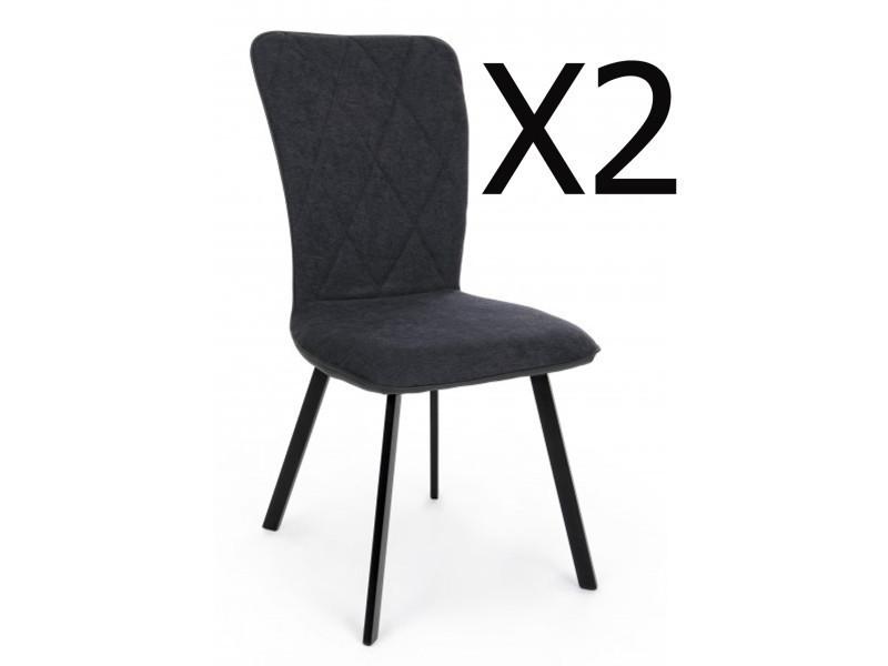 lot de 2 chaises coloris anthracite avec pieds noir dim l 50 x p 63 x h 92 cm pegane