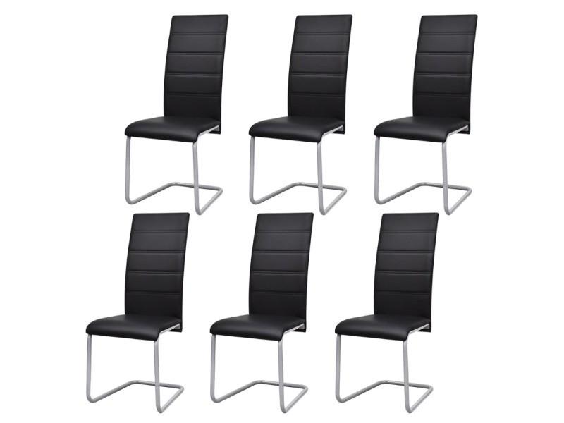 vidaxl chaises de salle a manger cantilever 6 pcs noir similicuir