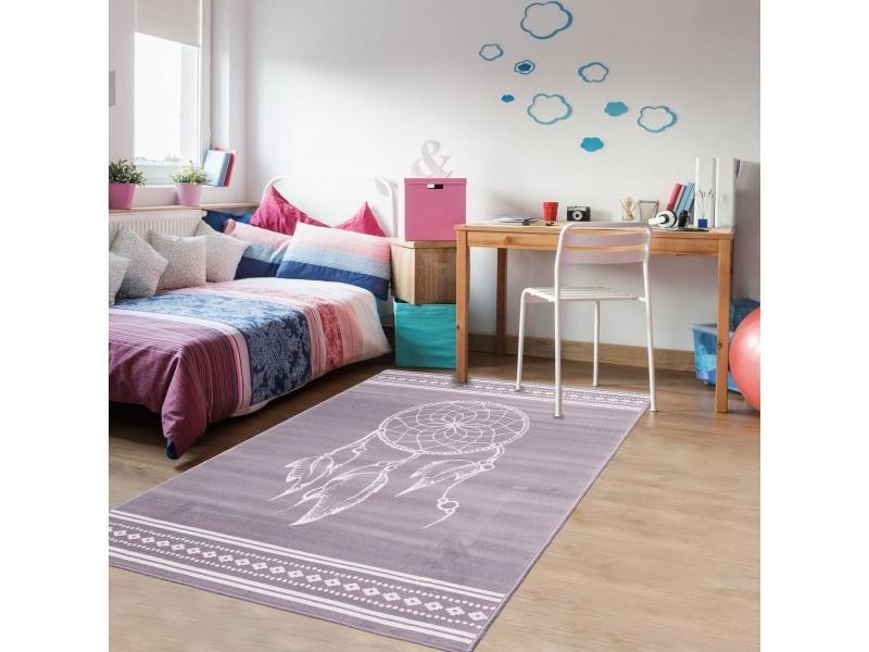 tapis design et moderne 160x230 cm rectangulaire af attrape reve gris chambre adapte au chauffage par le sol