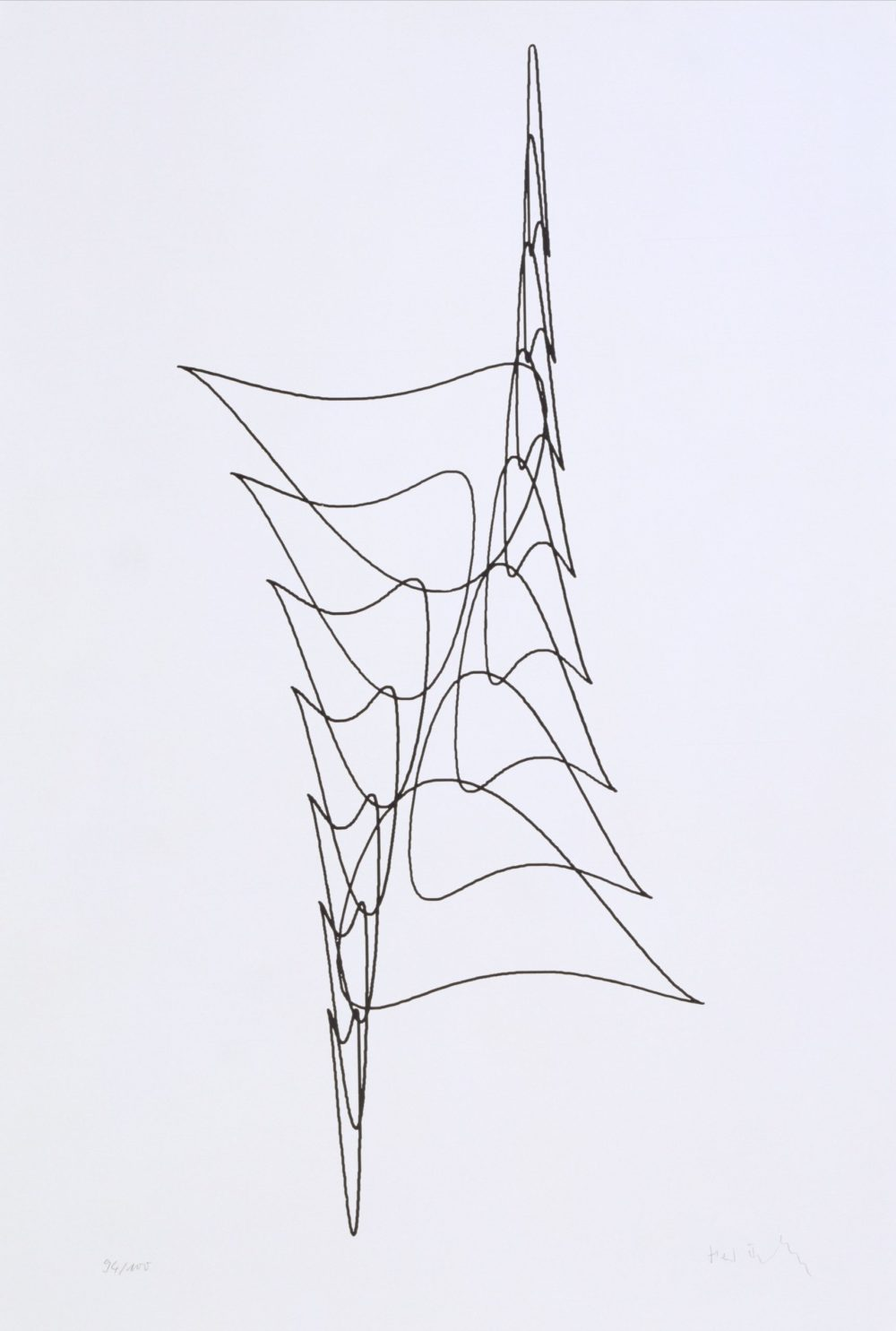Herbert W. Franke in collaboration with Peter Henne, KAES serie, plotter drawing, ink on paper, 70 x 50 cm, 1969