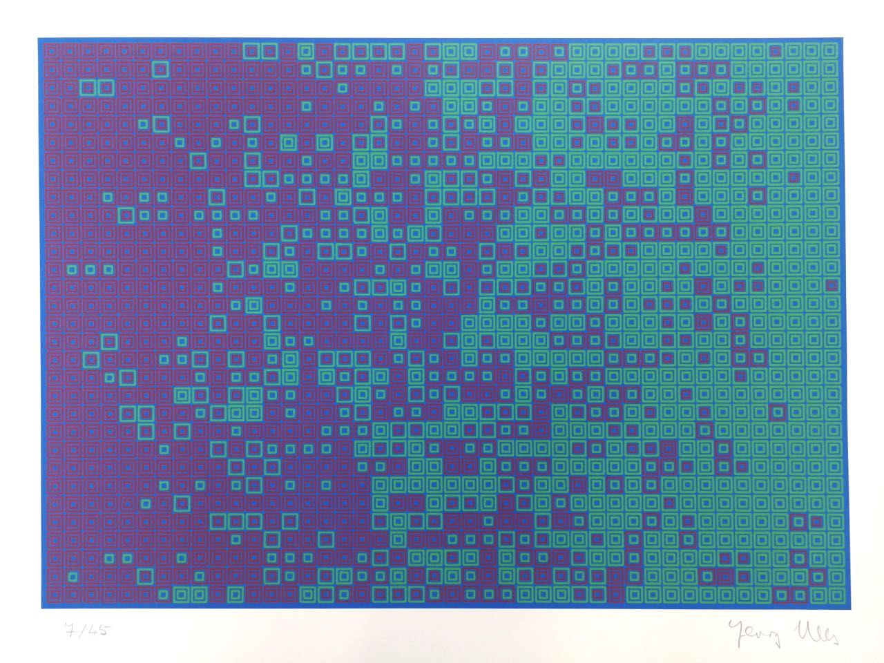 Georg Nees, Untitled, silkscreen, 38 x 50 cm (size of paper), edition of 45, 1972.
