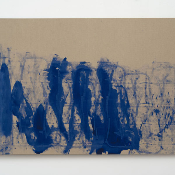 Addie Wagenknecht, Alone Together. IKB pigment on canvas, Roomba. 2017.
