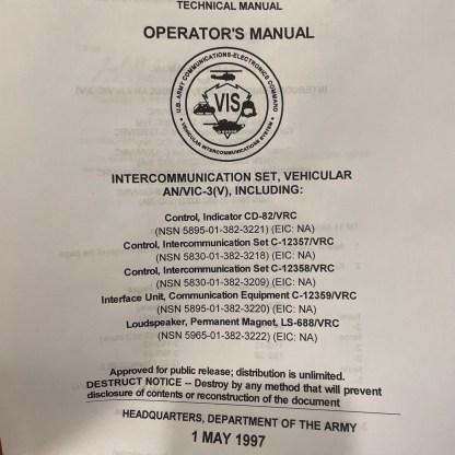 VIC-3 Operator's Manual