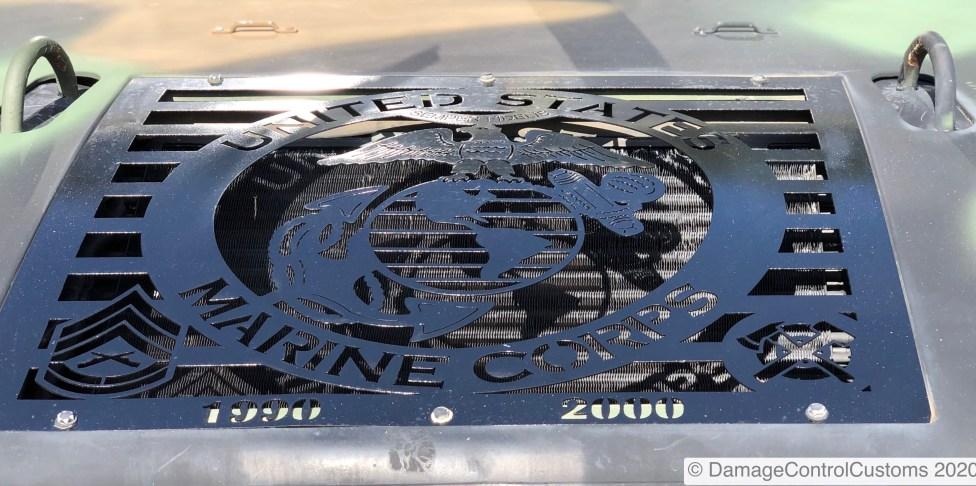 Custom hood grill made for an ex USMC vet