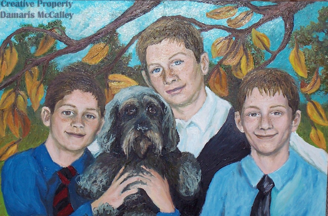 "Portrait Of Boys With Dog | Oil On Canvas |36"" W x 24"" H"