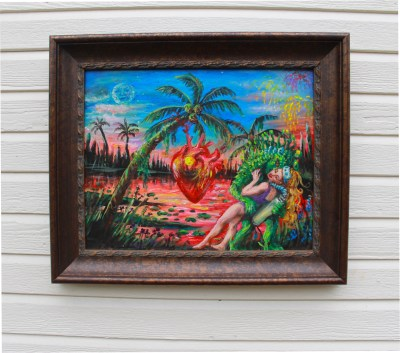 Creature from the black lagoon, swamp monster art, the shape of water, monster painting, original artwork for sale