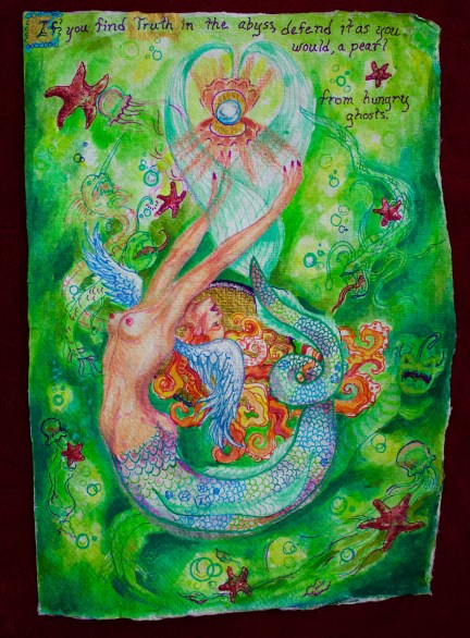 A winged mermaid surrounded by deep sea monsters