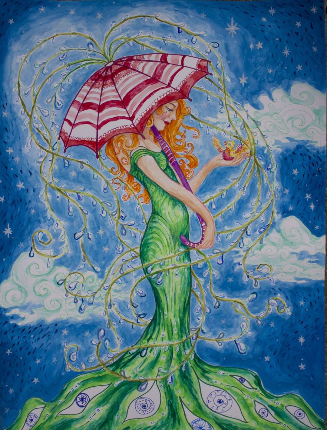 "Sky Girl With Eggs | Oil On Canvas |36"" W x 36"" H"