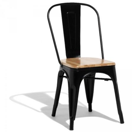 Chaise Fabrik empilable métal noir et eucalyptus - 49€ chez Gifi