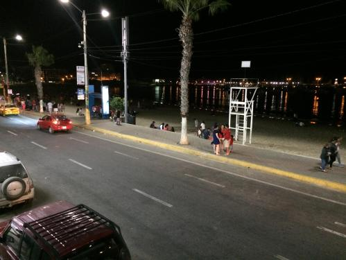 Even at 3am on a Saturday, the beach is well-populated.