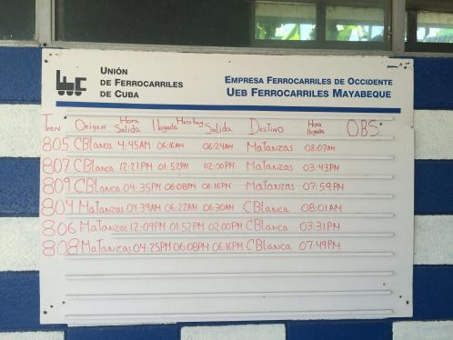 The schedule from Casablanca Station, Havana and Matanzas Cuba