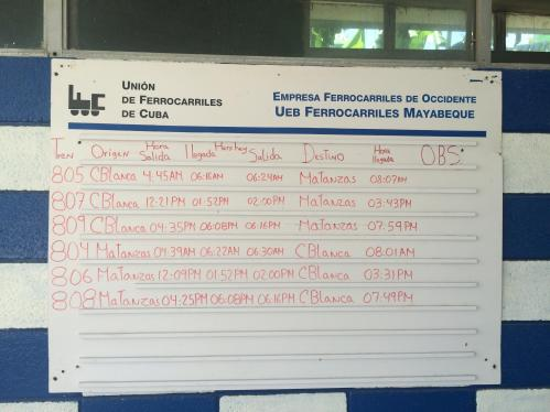 The schedule from Casablanca Station.