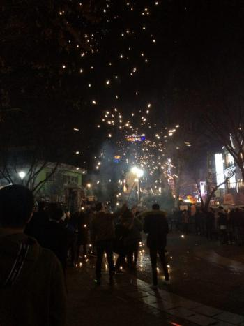 Fireworks set off in the playground in Hongdae around midnight.