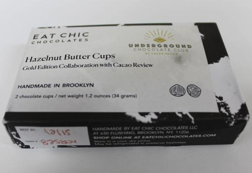 eat chic hazelnut butter cups front of package